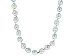 Pre-Owned Platinum Cultured Japanese Akoya Pearl 7-7.5mm Rhodium Over Sterling Silver Strand 18 Inch