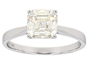 Pre-Owned White Fabulite Strontium Titanate 14k White Gold Ring 2.72ct