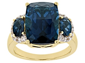 Pre-Owned London Blue Topaz 18k Gold Over Silver Ring 8.16ctw