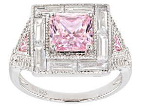 Pre-Owned Pink and White Cubic Zirconia Rhodium Over Sterling Silver Center Design Ring 5.20ctw