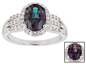 Pre-Owned Color change lab alexandrite rhodium over silver ring 2.14ctw