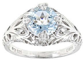 Pre-Owned Blue aquamarine rhodium over sterling silver solitaire ring 1.56ct