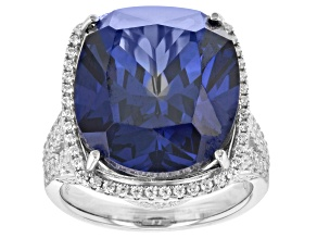 Pre-Owned Blue And White Cubic Zirconia Rhodium Over Sterling Silver Ring 32.94ctw