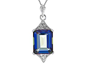 Pre-Owned Odyssey Blue™ Mystic Quartz® Silver Pendant With Chain 3.64ctw