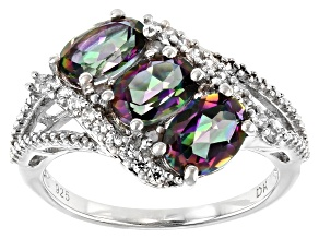 Pre-Owned Green Mystic Fire(R) Topaz Rhodium Over Silver Ring 2.86ctw