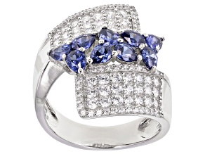 Pre-Owned Blue And White Cubic Zirconia Rhodium Over Sterling Silver Ring 3.96ctw