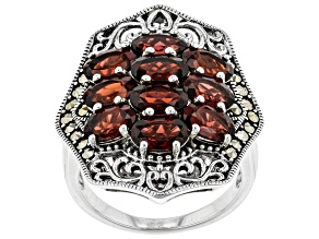 Pre-Owned Red garnet rhodium over sterling silver ring 4.76ctw