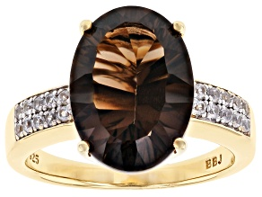 Pre-Owned Brown smoky quartz 18k yellow gold over silver ring 4.83ctw