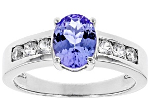 Pre-Owned Blue tanzanite rhodium over sterling silver ring 1.48ctw