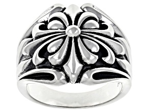 Pre-Owned Sterling Silver Fleur De Lis Dome Ring