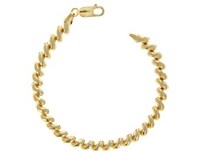 Pre-Owned 18k Yellow Gold Over Sterling Silver San Marco 7.25 inch Bracelet