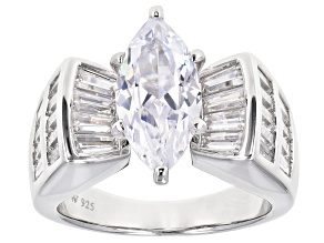 Pre-Owned White Cubic Zirconia Rhodium Over Sterling Silver Ring 7.32ctw
