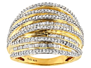 Pre-Owned Engild™ White Diamond 14k Yellow Gold Over Sterling Silver Ring 1.05ctw