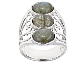 Pre-Owned Gray Labradorite Rhodium Over Sterling Silver 3-Stone ring