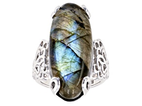Pre-Owned Gray Labradorite Rhodium Over Silver Ring