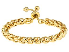 Pre-Owned 18k Yellow Gold Over Bronze Spiga Bolo Bracelet