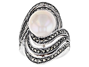 Pre-Owned White Cultured Freshwater Pearl 10mm & Marcasite 0.5ctw Rhodium Over Sterling Silver Ring
