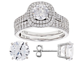 Pre-Owned White Cubic Zirconia Rhodium Over Sterling Silver Ring With Band and Earrings 10.26ctw