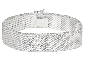 Pre-Owned Sterling Silver Diamond Cut Riccio Bracelet