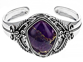Pre-Owned Purple Turquoise Rhodium Over Silver Cuff Bracelet