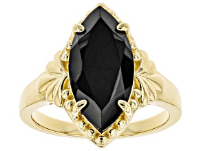 Pre-Owned Black spinel 18k yellow gold over silver ring 3.93ct