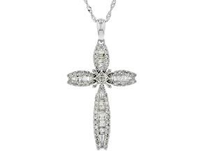 Pre-Owned White Diamond 10K White Gold Pendant 0.77ctw