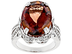 Pre-Owned Red labradorite rhodium over silver ring 9.48ctw