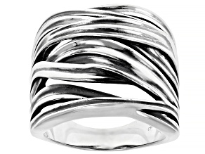 Pre-Owned Sterling Silver Oxidized Crossover Ring