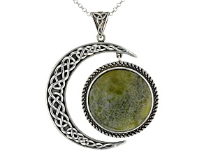 Pre-Owned Connemara Marble Sterling Silver Sun And Moon Pendant With Chain
