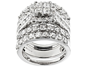 Pre-Owned White Diamond 10K White Gold Ring With Bands 4.85ctw