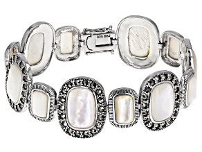 Pre-Owned White mother-of-pearl rhodium over sterling silver bracelet