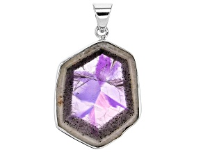 Pre-Owned Chevron Lace Amethyst Sterling Silver Pendant