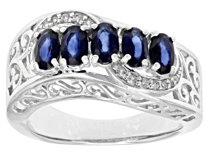 Pre-Owned Blue sapphire rhodium over sterling silver ring 1.53ctw