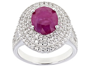 Pre-Owned Ruby Rhodium Over Sterling Silver Ring 4.25ctw