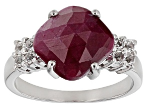 Pre-Owned Red Ruby Rhodium Over Sterling Silver Ring 4.32ctw