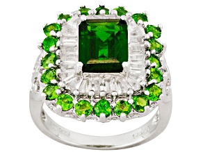 Pre-Owned Womens Cocktail Ring Green Chrome Diopside White Zircon 5ctw Silver