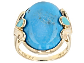 Pre-Owned Turquoise Solitaire 10k Yellow Gold Ring