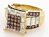 Pre-Owned Brown And White Cubic Zirconia 18k Yellow Gold Over Silver Ring 4.30ctw (2.52ctw DEW)
