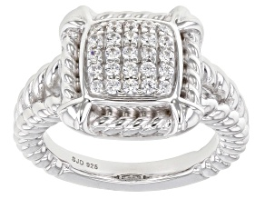 Pre-Owned White Cubic Zirconia Rhodium Over Sterling Silver Ring 0.65ctw