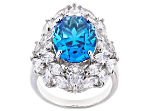 Pre-Owned Blue And White Cubic Zirconia Rhodium Over Sterling Silver Ring 16.12ctw
