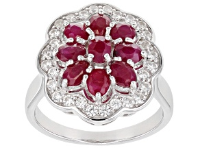 Pre-Owned Red Ruby Rhodium Over Sterling Silver Ring 2.38ctw