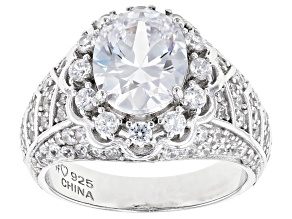 Pre-Owned White Cubic Zirconia Rhodium Over Sterling Silver Ring 6.23ctw