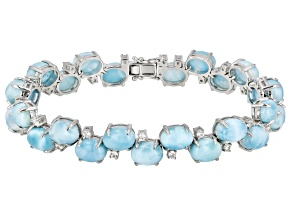 Pre-Owned Blue larimar rhodium over silver bracelet .75ctw