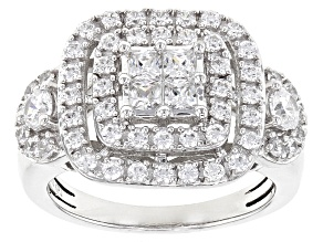 Pre-Owned White Cubic Zirconia Rhodium Over Sterling Silver Ring 2.55ctw