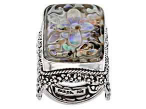 Pre-Owned Multicolor Abalone Doublet Silver Ring