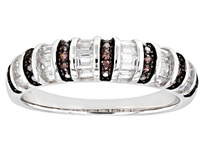 Pre-Owned Brown And White Cubic Zirconia Rhodium Over Sterling Silver Ring 1.33ctw