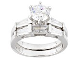 Pre-Owned White Cubic Zirconia Rhodium Over Sterling Silver Ring With Band 1.98ctw