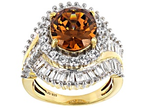 Pre-Owned Brown and White Cubic Zirconia 18k Yellow Gold Over Sterling Silver Ring 13.24ctw