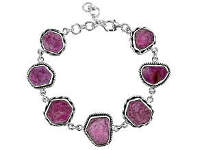 Pre-Owned Rough Pink Sapphire Sterling Silver Bracelet