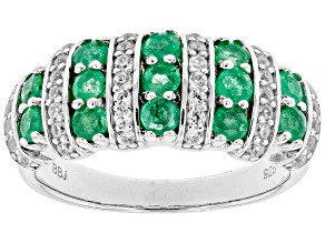 Pre-Owned Green emerald rhodium over sterling silver band ring 1.18ctw